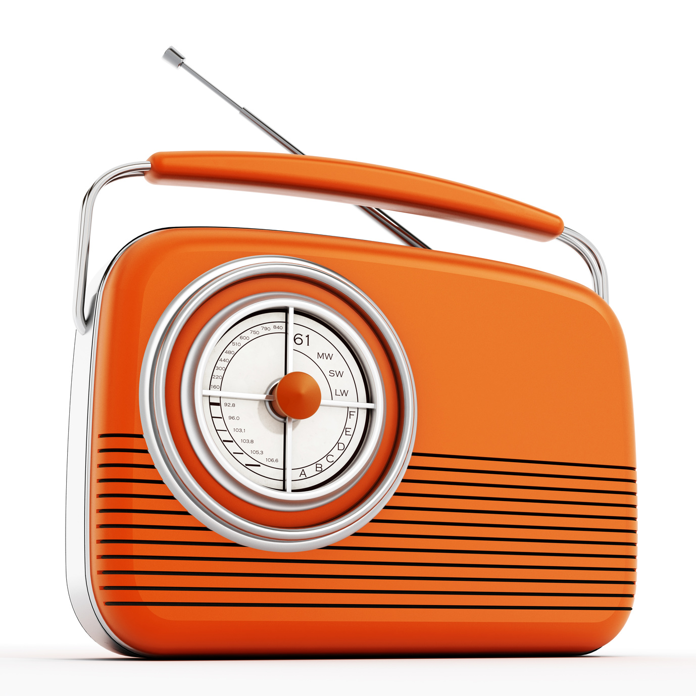 Orange vintage radio isolated on white background